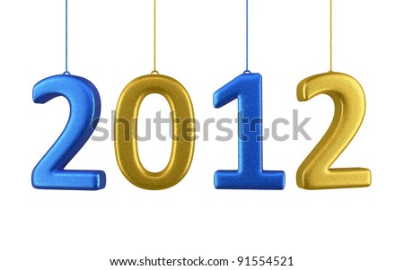 New Year 2012 and colorful render (isolated on white and clipping path) - stock photo