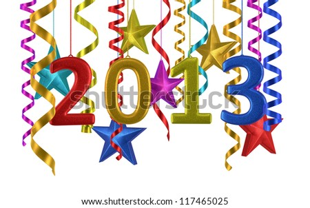 New Year 2013 and colorful star ornament render (isolated on white and clipping path)