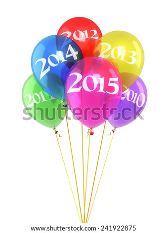 New year 2015 and Colorfull balloons render (isolated on white and clipping path) - stock photo