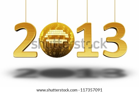 New Year 2013 and disco ball gold render (isolated on white and clipping path)