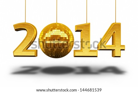 New Year 2014 and disco ball gold render (isolated on white and clipping path) - stock photo