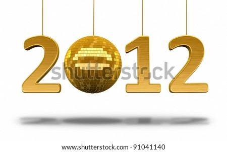 New Year 2012 and disco ball gold render (isolated on white and clipping path)