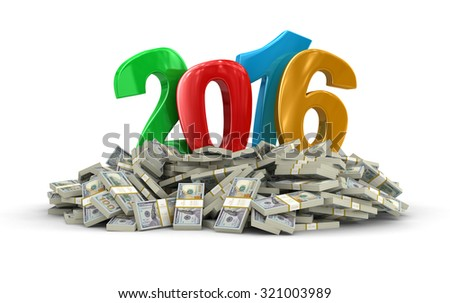 New Year 2016 and Dollars (clipping path included)