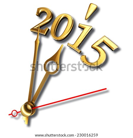 new year 2015 and golden clock hands on white background. clipping path included - stock photo