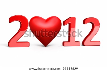New Year 2012 and heart render (isolated on white and clipping path) - stock photo