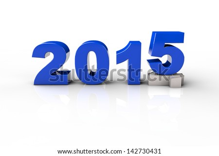 New Year 2014 and Old 2015,Render 3D. Over white background