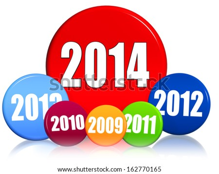 new year 2014 and previous years in 3d colored circles with figures, business concept - stock photo