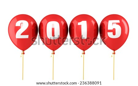 New Year 2015 and red balloons render (isolated on white and clipping path)