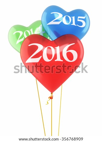 New Year 2016 and Red blue green heart balloons render (isolated on white and clipping path) - stock photo