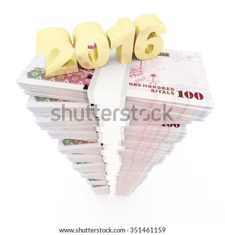 New year 2016 and Saudi riyal stack - stock photo