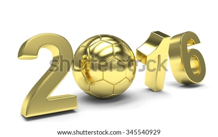 New Year 2016 and soccer ball - stock photo
