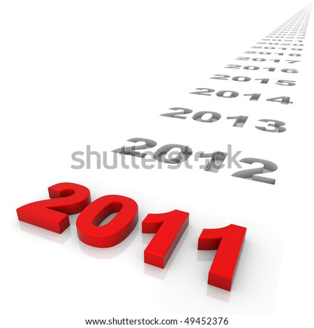 New year 2011 and the years ahead. Part of a series. - stock photo