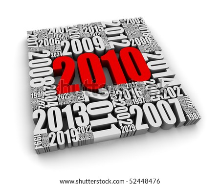 New year 2010 and the years ahead. Part of a series. - stock photo