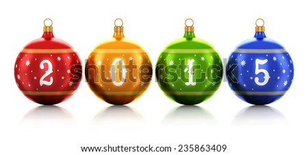 New Year 2015 and Xmas celebration concept: group of color shiny metallic glass Christmas balls with 2015 text numbers and colorful star decoration ornament design isolated on white background - stock photo