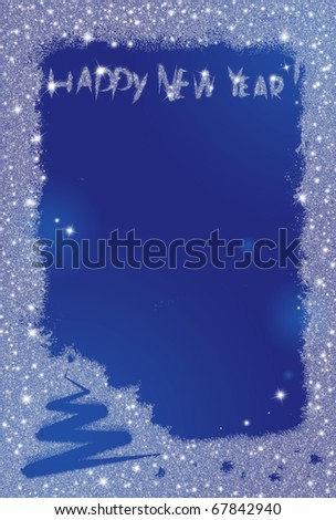 New year background as a frozen window - stock photo