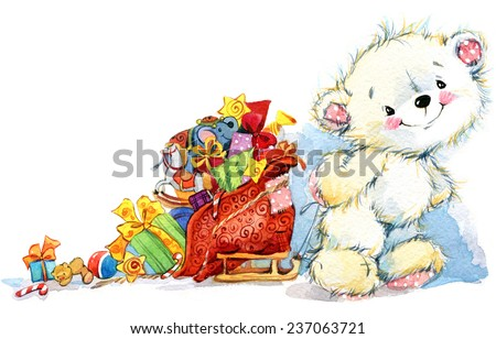 New Year  background for card and congratulation with white bear and Santa sleigh. Christmas card series. watercolor - stock photo