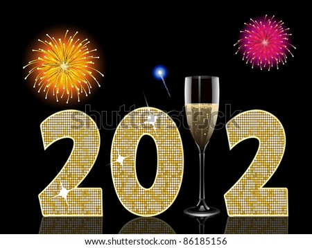 new year background with champagne glass and fireworks - stock photo