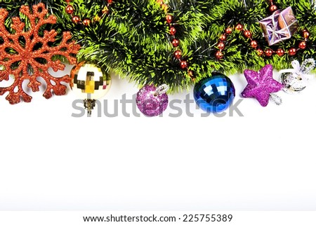 New year background with colorful decoration balls,star and snowflake