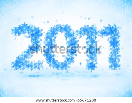 New year 2011 background with snowflakes - stock photo