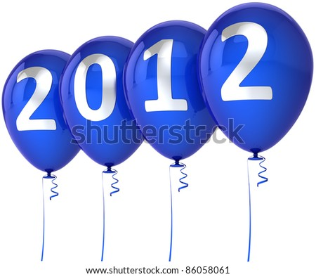 New Year 2012 balloons happy holiday party decoration blue with silver date. Merry Christmas joy fun abstract. Classic design element for calendar. Detailed 3d render. Isolated on white background - stock photo