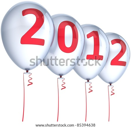 New Year 2012 balloons party decoration colored silver with red date. Merry Christmas joy fun winter celebration abstract. Calendar design element. Detailed 3d render. Isolated on white background