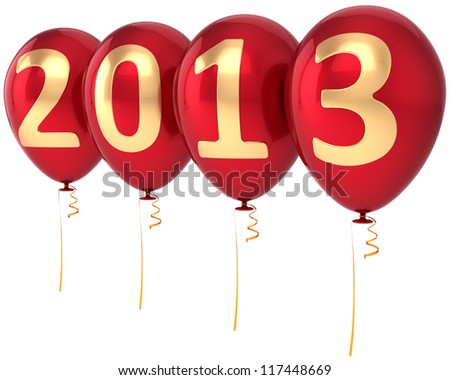 New Year 2013 balloons party decoration. Countdown calendar date. Red helium balloon with gold numbers. Detailed 3d render. Isolated on white background. - stock photo