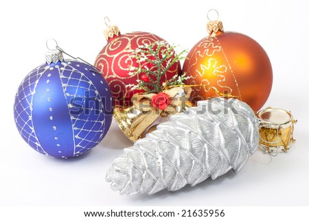 New Year Balls and toys isolated on white