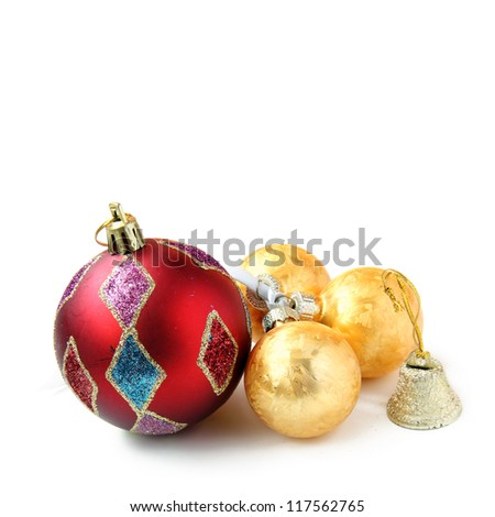 New Year balls on white background - stock photo
