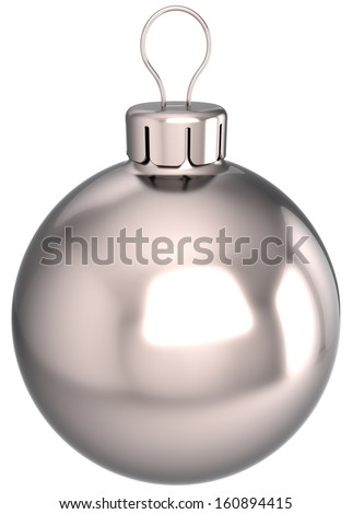 New Year bauble Christmas ball decoration chrome silver sphere icon. Beautiful clean shiny Merry Xmas blank souvenir. Detailed 3d render. Isolated on white background - stock photo