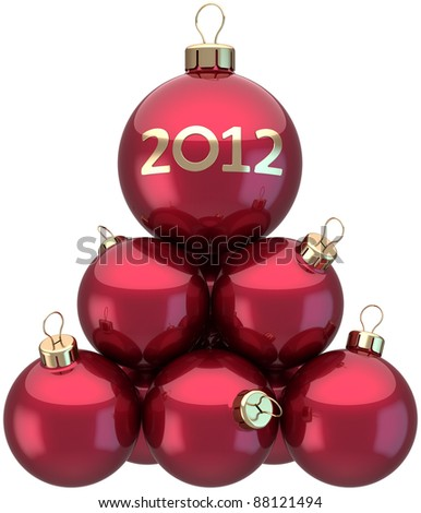 New Year 2012 baubles Christmas balls colored red arranged as a pyramid. Xmas greeting card concept. Beautiful traditional winter holidays decoration. Detailed 3d render. Isolated on white background - stock photo