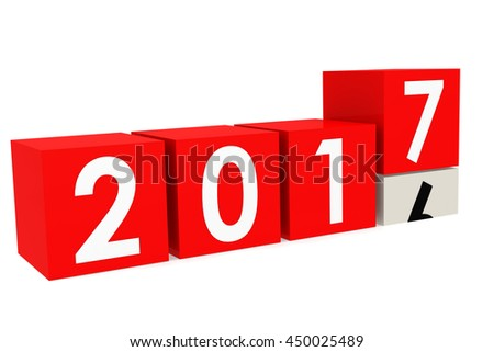 New year 2017 Blocks in red, 3D rendering