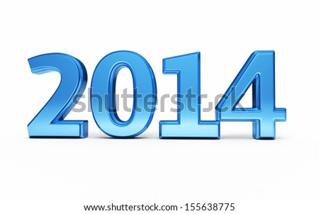 New Year 2014 Blue render (isolated on white and clipping path)