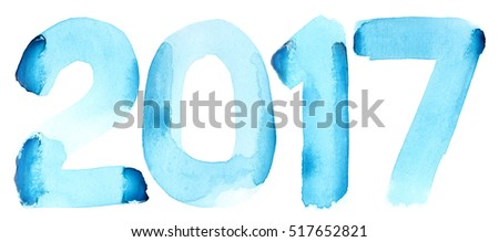 New year 2017 - Blue watercolor number isolated on the white background