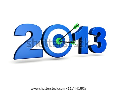 New year 2013 business goals concept with blue sign, target and two arrows on green centre. On white background. - stock photo