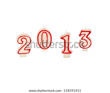 new year 2013 - candles isolated - stock photo