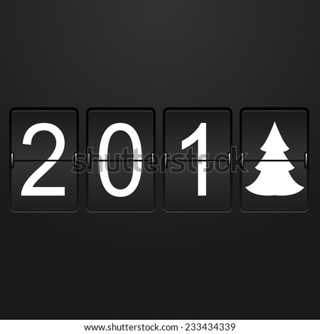 New year card Airport Time Table with numbers 201 and last digit in the form of a christmas tree - stock photo