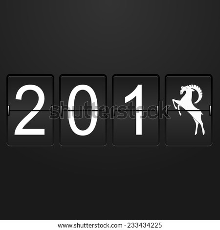 New year card Airport Time Table with numbers 201 and last digit in the form of a goat  - stock photo