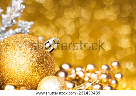 New year card decoration on golden bokeh background - stock photo