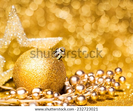 New year card decoration on golden bokeh background