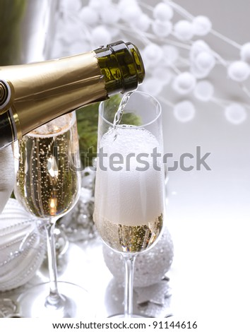 New Year Card Design with Champagne - stock photo