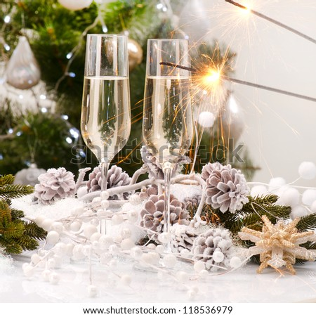 New Year Card Design with Champagne. Christmas Celebration. Sparkles - stock photo