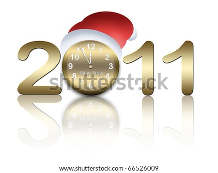 New year card with clock and cap of santa claus