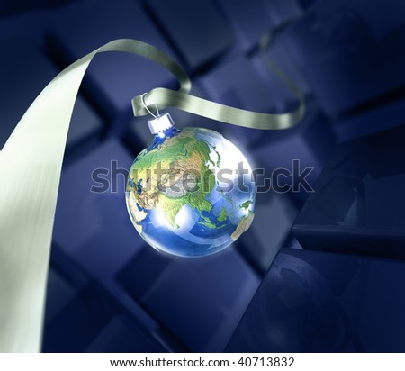 New year card with earth ball and ribbon - stock photo