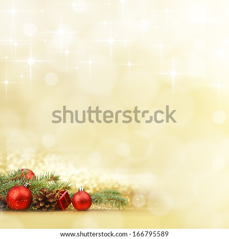New year card with fir branch and decoration on shiny stars background - stock photo