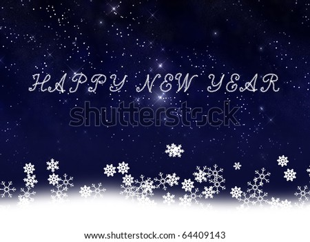 New year card with snow background
