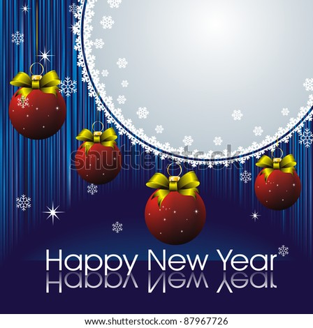 new year card with snow frame, blue strip background and red christmas decorations