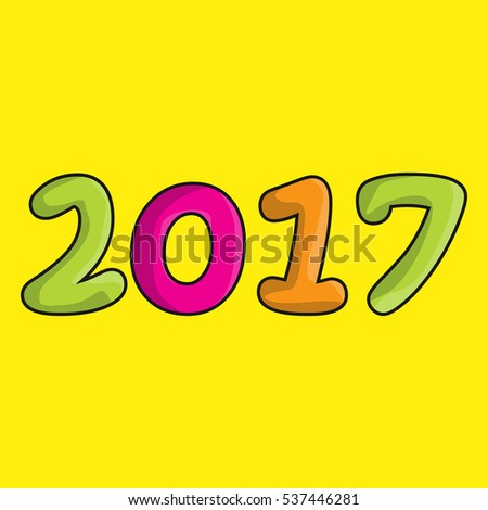 New Year. 2017. Cartoon figures isolated on a yellow background. Celebration. The calendar.