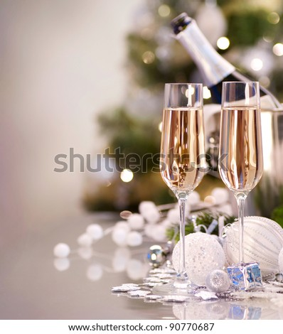New Year Celebration.Champagne - stock photo
