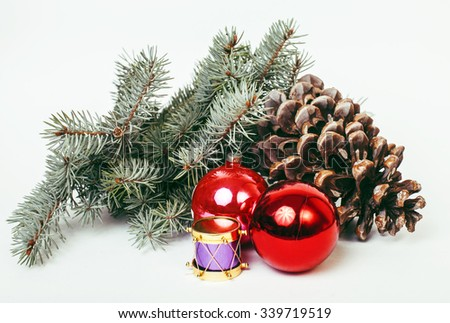 new year celebration, Christmas holiday stuff, tree, toys, decoration with snow, santas red hat - stock photo