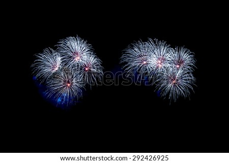 New Year celebration fireworks black background,4th - stock photo